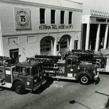(l-r) FHHCO: c. 1973 Ford/Young engine, 1951 Mack, 1968 Young Crusader