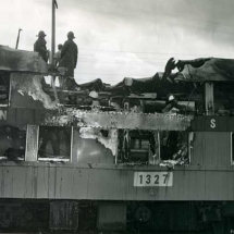Train fire, LIRR station. c. 1960